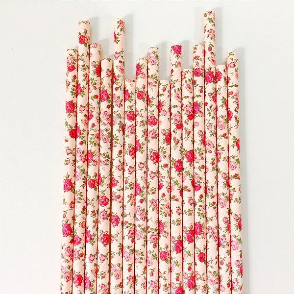 Canudo de papel floral para suco - 20 unidades