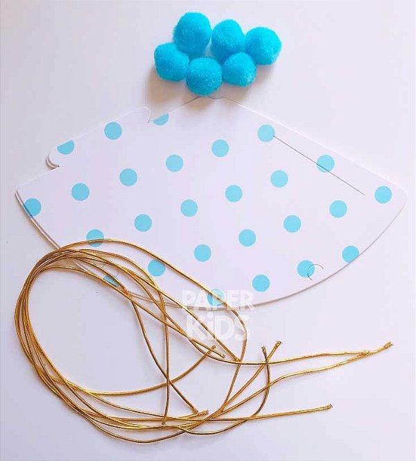 Chapéu com pompom - Bolinhas Azuis (6 un - 15cm h) *NECESSITA MONTAGEM