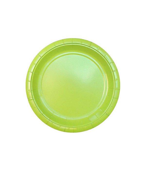 Pratinho de papel - Verde Limão 18 cm (10 un)