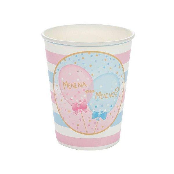 Copo de papel - Chá Revelação Menina ou Menino (10 unidades)