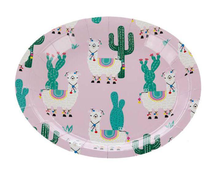 Prato de papel rosa - Lhama e Cactos (18 cm - 10 unidades)