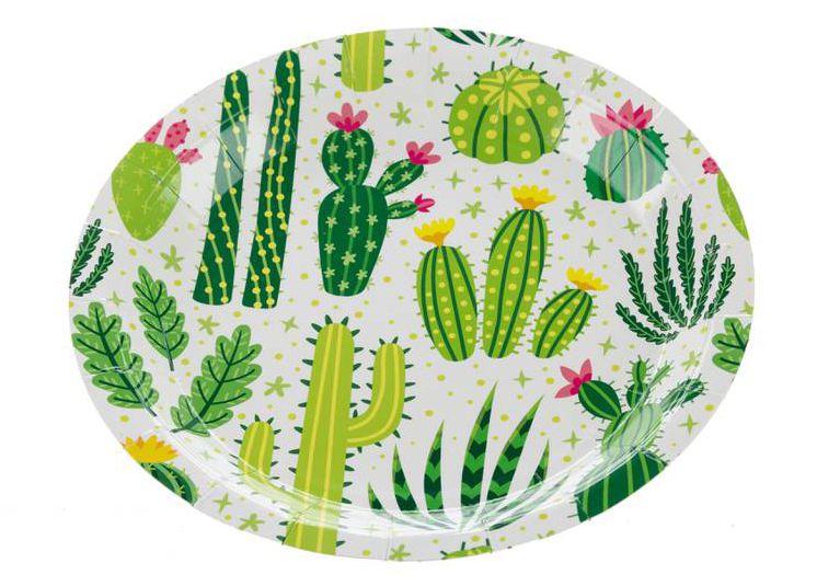 Prato de papel - Flores de Cactos (18 cm - 10 unidades)