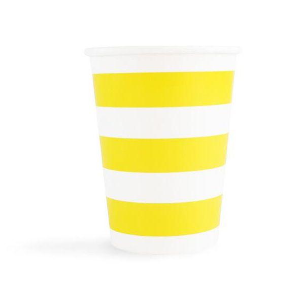 Copo de papel Listras - Amarelo (10 unidades)