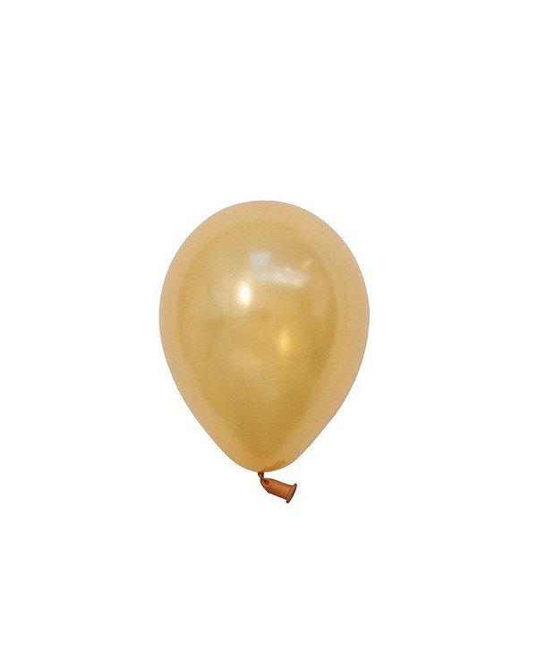 """Mini balão látex 5"""" - Ouro (unidade)"""