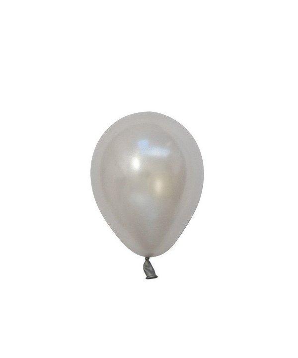 """Mini balão látex 5"""" - Prata (unidade)"""