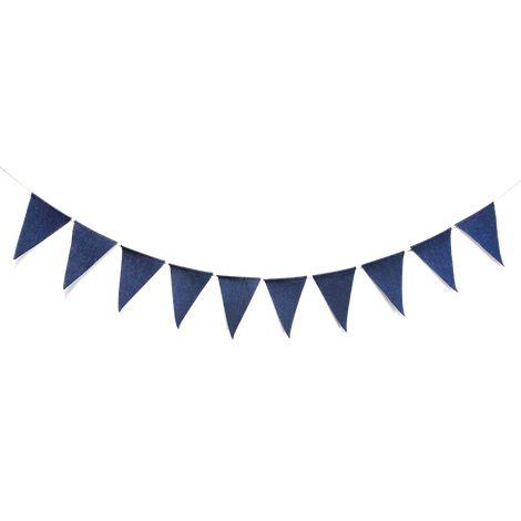 Bandeirola de tecido - JEANS (10 pçs - cordão juta)