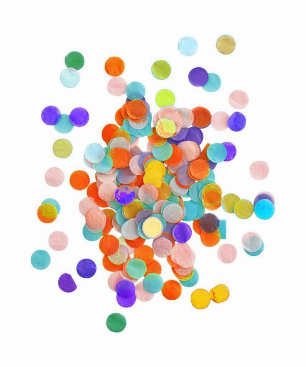 Confete bola pequeno - Cores sortidas (1 cm - 40g) *Roxo/Amarelo/Laranja/Azul/Verde/Rosa