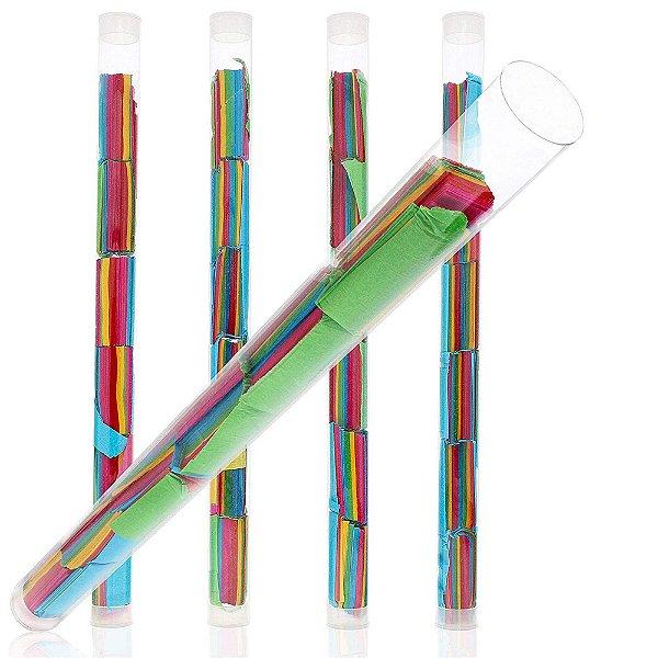 Lança Confetes Gigantes - Mix de Cores (2 tubos - 25cm) *MANUAL alcança até 6 metros