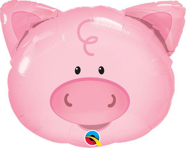 """Balão metalizado - Porco Rosa 30"""" 58x51 cm (unidade)"""