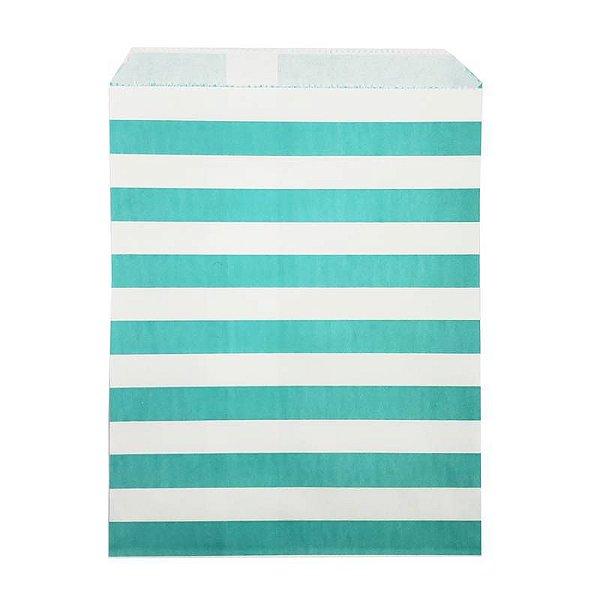 Saquinho de papel listras - Azul Turquesa 13x18 cm (10 unidades)