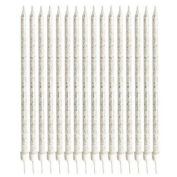 Vela longa Glitter Prata - 14.5 cm (16 unidades)