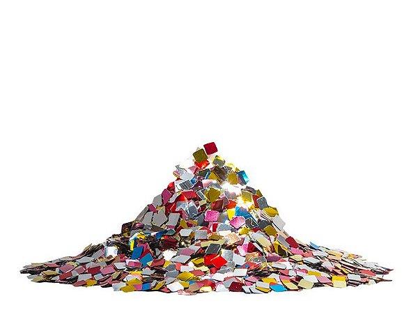 Mini Confete quadrado metalizado - Mix de cores  (25g)