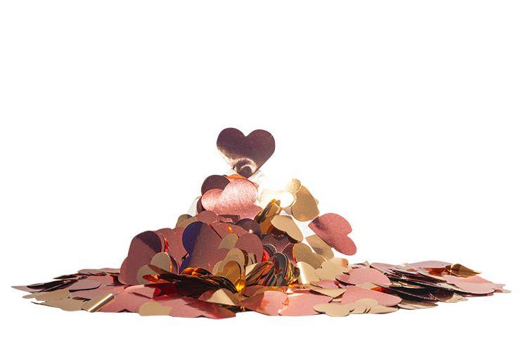 Confete metalizado Corações - Rosa Ouro (25g em 2 tamanhos)