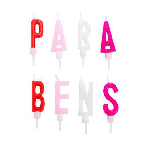 Vela PARABÉNS - Rosa e branco (8 velas)