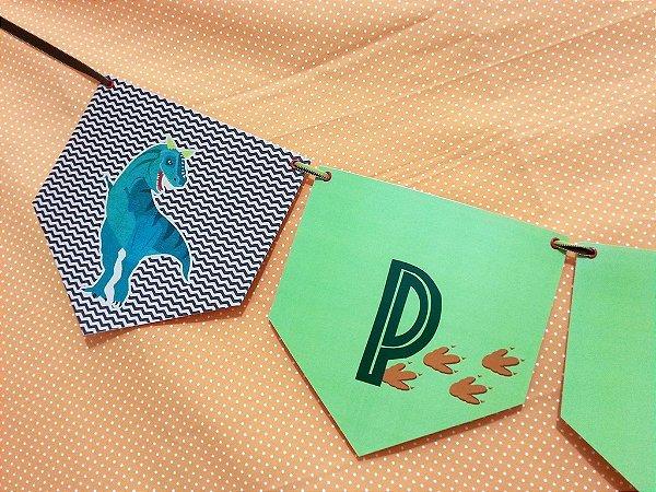 Bandeirola PARABÉNS - festa Dinossauros