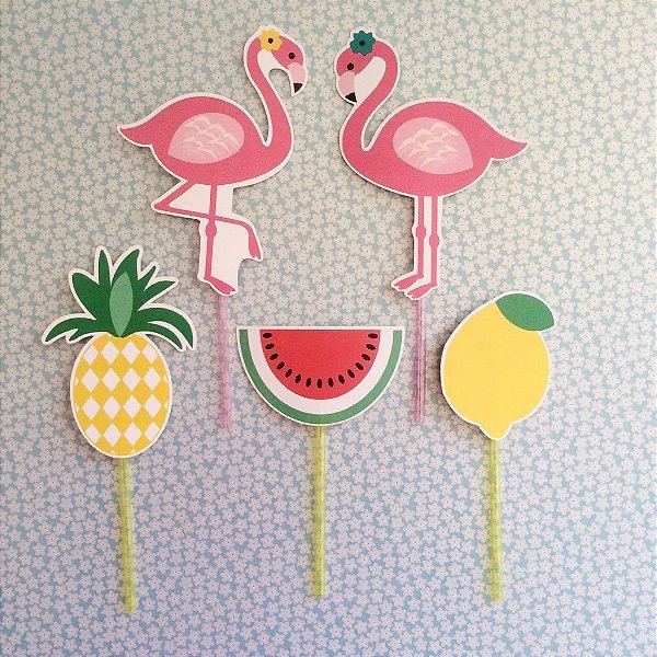 Tag para doces - festa Flamingo (5 unidades)