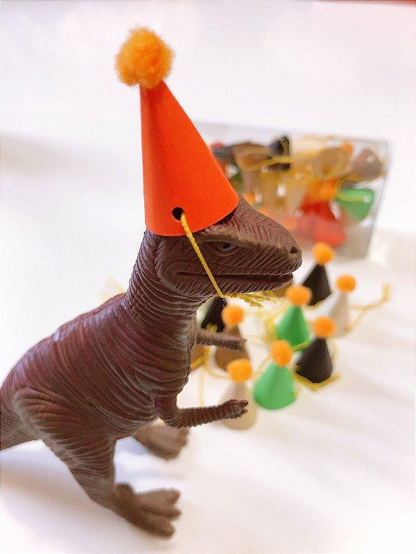 Mini chapéu pompom Dinossauros - 6 Cores (18 unidades 3x1.5 cm)
