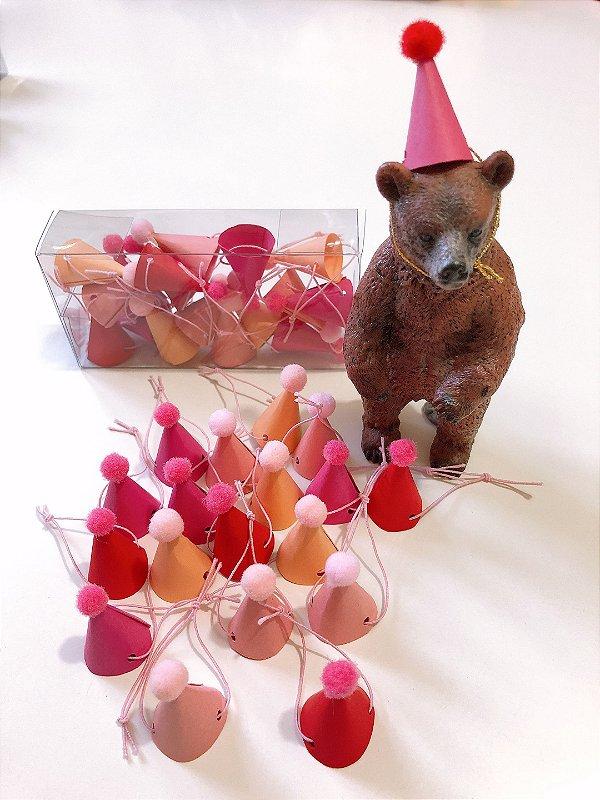 Mini chapéu pompom Tons Pink  - 4 Cores (18 unidades 3x1.5 cm) *Vermelho / Pink / Rosa / Nude