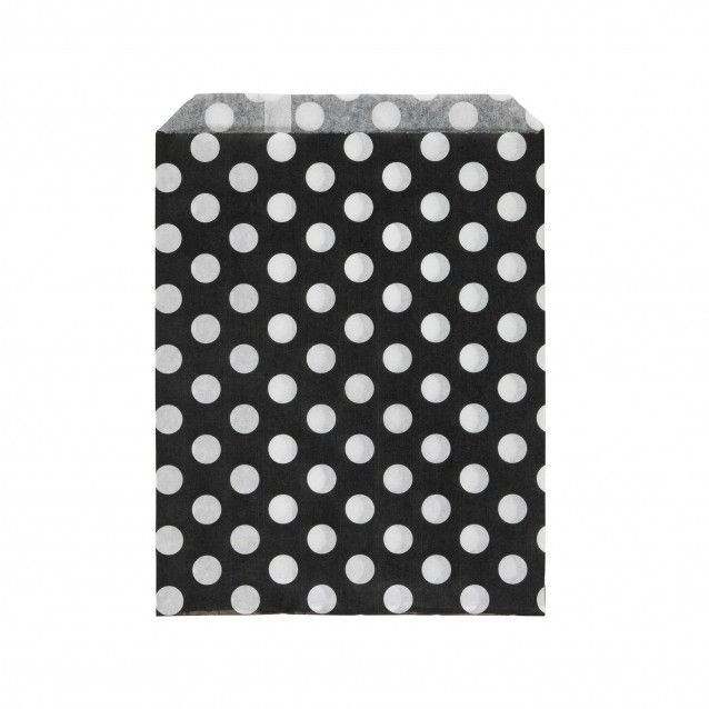 Saquinho de papel bolinhas - Preto e Branco (13x18 cm - 10 unidades)