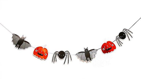 Bandeirola de papel - Halloween (6 peças - 12 cm - 3 metros cordão)