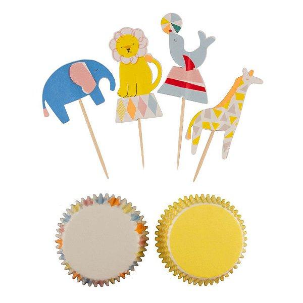 Kit cupcake festa Circo - 24 pins + 24 formas