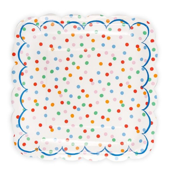 Prato de papel bolinhas multi cores - Meri Meri (12 unidades - 18cm)