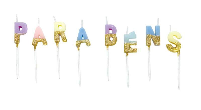 Vela Parabéns - tons pastel e dourado (8 velas)