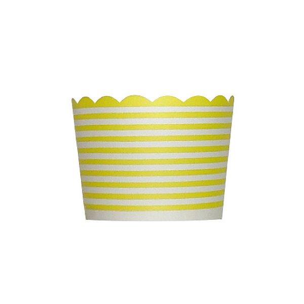 Formas de papel forneáveis para Cupcake - linhas Amarelo (20 unidades)