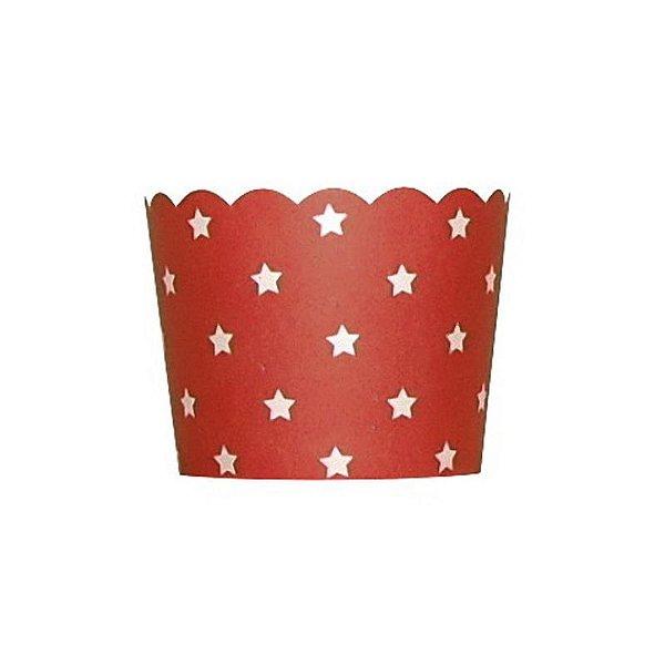 Formas de papel forneáveis para Cupcake Vermelho - Estrelas (20 unidades)