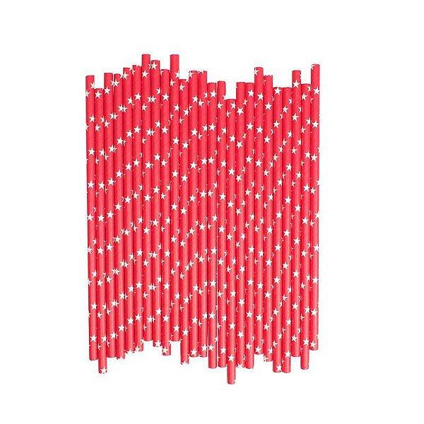 Canudo de papel vermelho - Estrelas (20 unidades)
