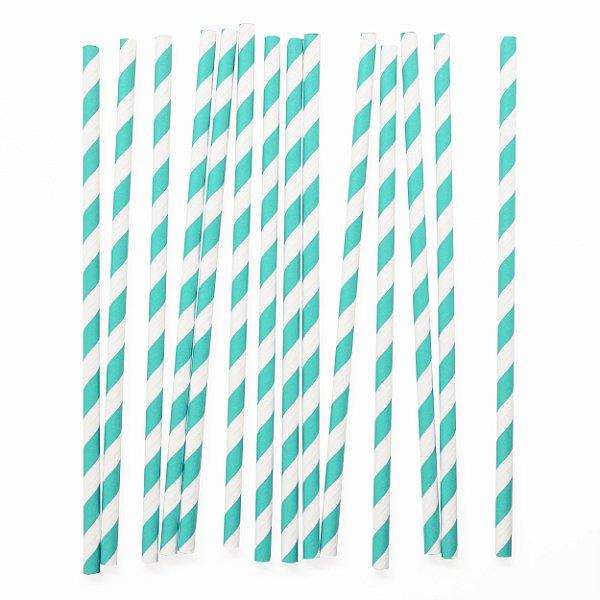 Canudo de papel listras - Verde Água (20 unidades)