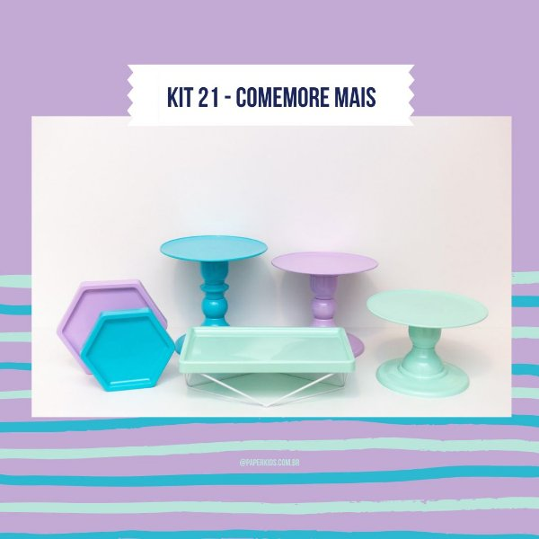 KIT COMEMORE MAIS 21 - Azul Tiffany / Lilás / Verde Candy