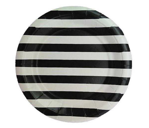 Prato de papel listras - Preto (19 cm - 8 unidades)