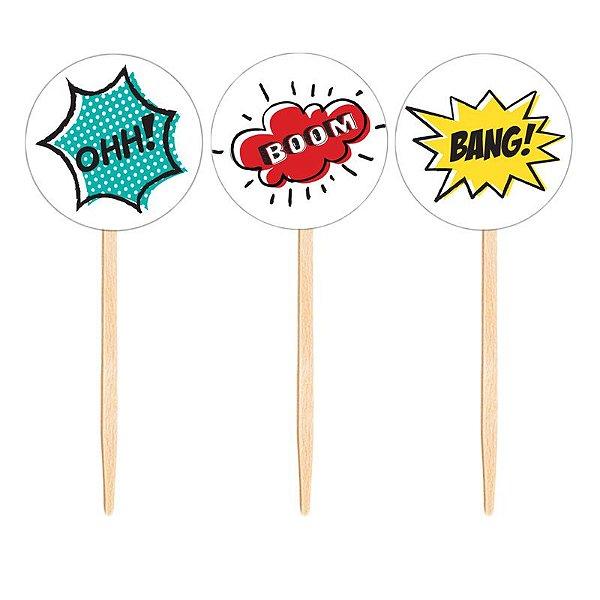Topper para doces / cupcake - Super Heróis (10 unidades)
