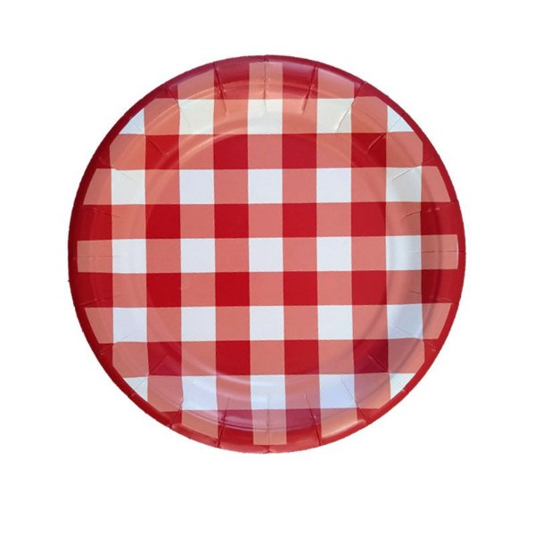 Pratinho de papel xadrez - Vichy Vermelho (19 cm - 8 unidades)