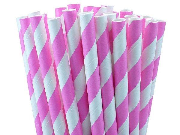Canudo de papel listrado Rosa - 20 unidades