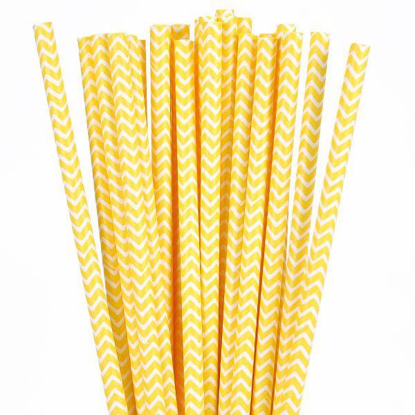 Canudo de papel Chevron Amarelo - 20 unidades