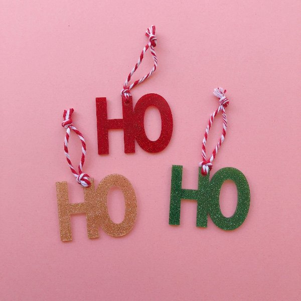 Kit enfeite de Natal HO HO HO - (3 unidades em acrílico)