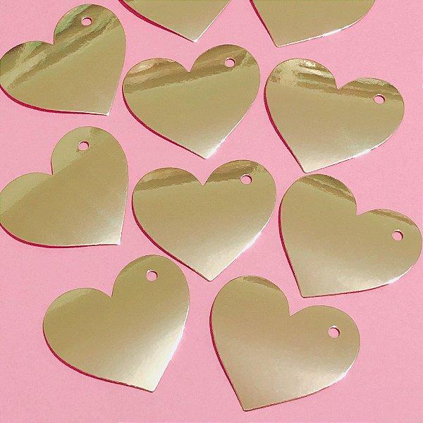 Tag dourada para presente - Coração (12 unidades)
