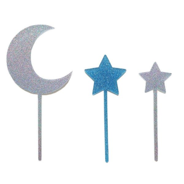 Topo de bolo acrílico - Lua e estrelas (Prata e Azul - 3 peças)