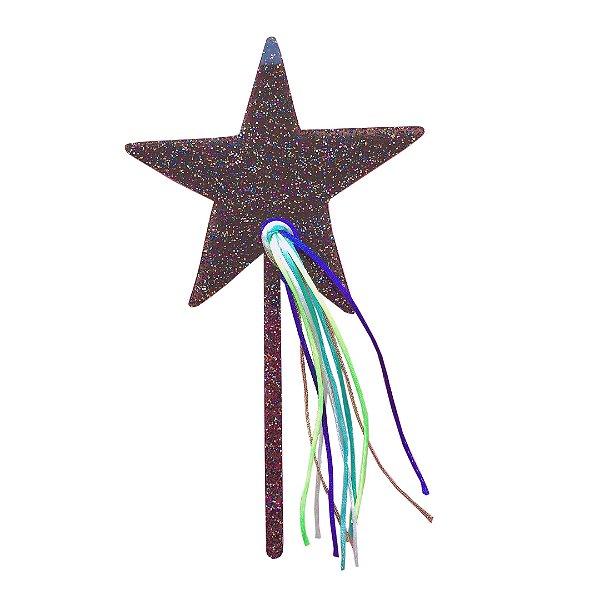 Topo de bolo acrílico - Estrela com Glitter e Fitas (1 unidade)