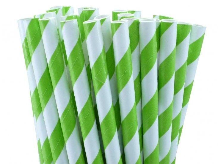 Canudo de papel listra verde - 20 unidades