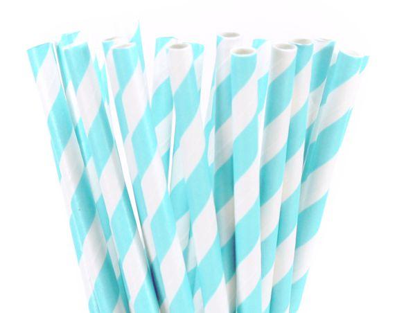 Canudo de papel listra azul claro - 20 unidades