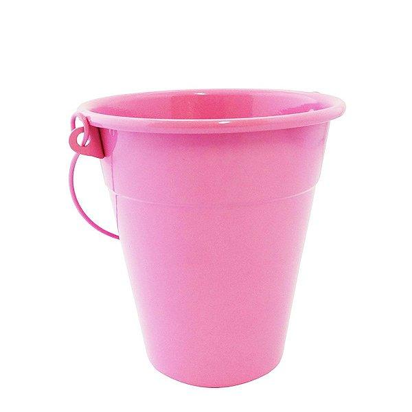 Baldinho de alumínio com alça - cor rosa (4 unidades)