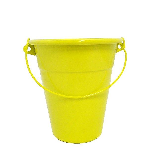 Baldinho de alumínio com alça - cor amarelo (4 unidades)