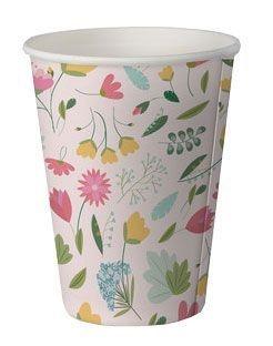 Copo de papel biodegradável - Flores (8 unidades)