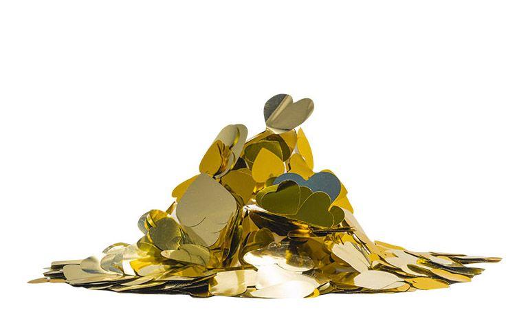 Confete metalizado Corações - Tons de Dourado (25g em 2 tamanhos)