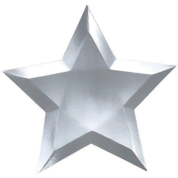 Prato de papel - Estrela Prata (8 unidades - 27 cm)