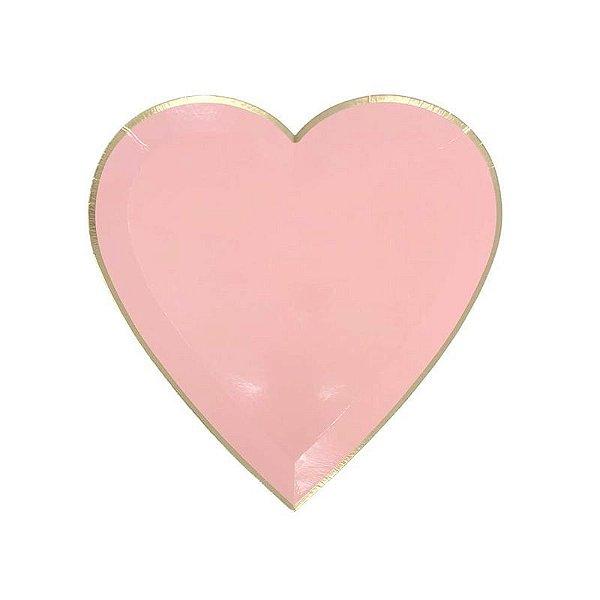 Prato de papel Coração - Rosa com filete dourado (8 unidades - 19 cm)
