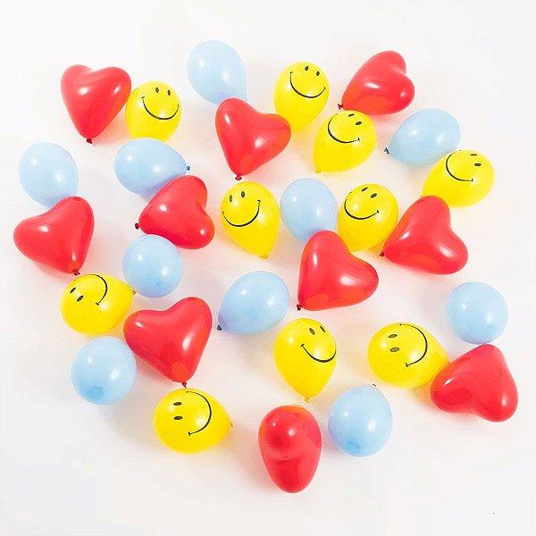 "Kit mini balões 5"" - Emoji / Smiley (30 unidades)"